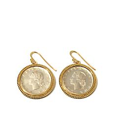 Bellezza Lira Coin Bronze Rope Frame Drop Earrings