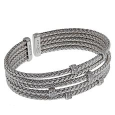 Bellezza Sterling Silver Braided 5-Row Cuff Bracelet