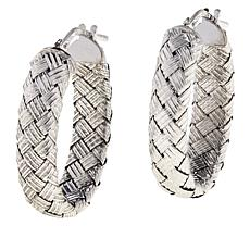 Bellezza Sterling Silver Woven Oval Hoop Earrings