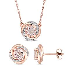 Bellini 10K Rose Gold Morganite and Diamond Swirl Necklace & Earrings