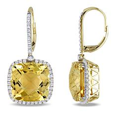 Bellini  14K Gold Citrine and Diamond Halo Leverback Drop Earrings