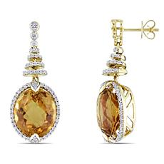 Bellini  14K Gold Citrine and Diamond Spiral Drop Earrings