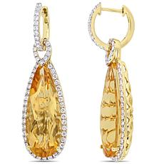 Bellini 14K Gold Elongated Citrine and Diamond-Accented Hoop Earrings