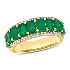 Bellini 14K Gold Octagonal Emerald and Diamond Semi-Eternity Ring