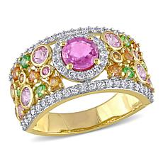 Bellini 14K Pink Sapphire, Diamond and Multi-Gemstone Cigar Ring