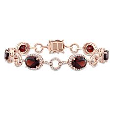 Bellini 14K Rose Gold Garnet and Diamond Geometric Linked Bracelet