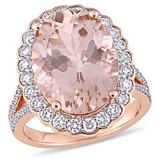 Bellini 14K Rose Gold Morganite and Diamond Halo Cocktail Ring
