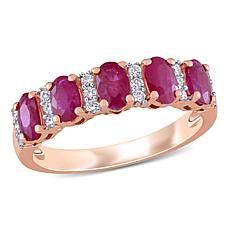 Bellini 14K Rose Gold Oval Ruby and Diamond Semi-Eternity Ring