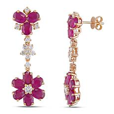 Bellini  14K Rose Gold Pink Sapphire and Diamond Dangle Earrings