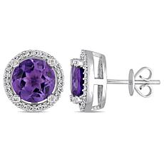 Bellini  14K White Gold Amethyst and Diamond Halo Stud Earrings