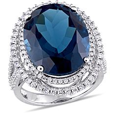 Bellini 14K White Gold Oval London Blue Topaz & Diamond-Accented Ring