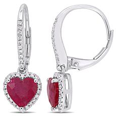 Bellini 14K White Gold Ruby Heart Diamond-Accented Drop Earrings