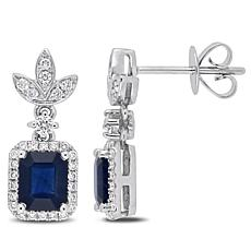 Bellini  14K White Gold Sapphire and Diamond Dangle Earrings