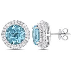 Bellini  14K White Gold Sky Blue Topaz and Diamond Halo Stud Earrings