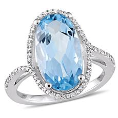 Bellini 14K White Gold Sky Blue Topaz and Diamond Halo Ring