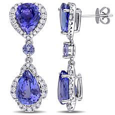 Bellini  14K White Gold Tanzanite and Diamond Vintage Drop Earrings