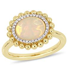 Bellini 14K Yellow Gold Diamond and Ethiopian Opal Halo Ring