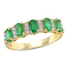 Bellini 14K Yellow Gold Oval Peridot and Diamond Semi-Eternity Ring