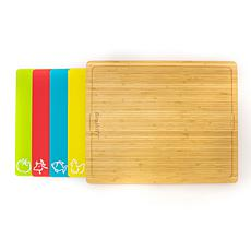 BergHOFF Bamboo Cutting Board with 4 Color-Coded Cutting Mats