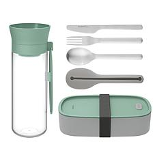 BergHOFF Leo Green Bento Box with Flatware and Water Bottle Lunch Set