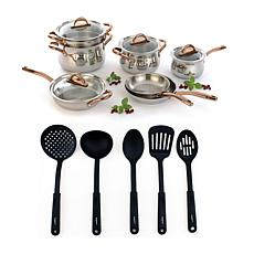 BergHOFF® Ouro Gold Stainless Steel 17-piece Cookware Set Glass Lids