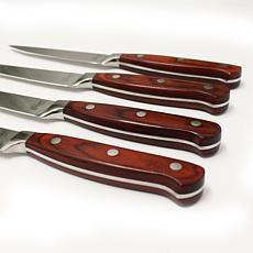 "BergHOFF Pakka Wood 12"" Stainless Steel Steak Knives, Set of 6"