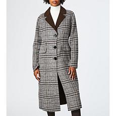 Bernardo Doubled Faced Plaid Wool Coat