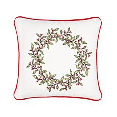 Berry Garland Embroidered Pillow