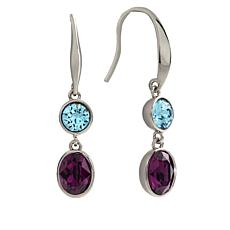 Bertha Jemma Collection Silver-Tone Colored Crystal Drop Earrings