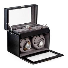 Bey-Berk Black Leather 4 Watch Winder and 5 Watch Storage Case