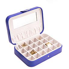 Bey-Berk Josephine Blue 24-Section Jewelry Box Storage Case