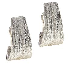 Bianca Milano Sterling Silver Wide Textured J-Hoop Earrings