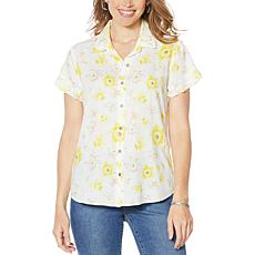 Billy T Happy Summer Button Front Print Camp Shirt