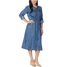 Billy T Napoleon Stripe Utility Belted Shirtdress