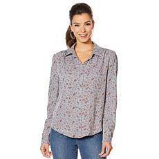 Billy T Puff Sleeve Floral Button Down Top