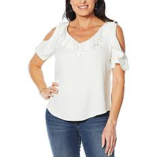 Billy T Ruffled Cold Shoulder V-Neck Ruffled Top