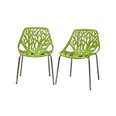 Birch Sapling Green Plastic Modern Dining Chairs