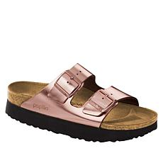 Birkenstock Arizona Metallic Leather Platform Sandal