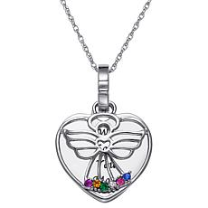 Birthstone Crystal Sterling Silver Angel Heart Pendant with Chain