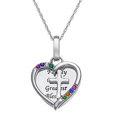 Birthstone Crystal Sterling Silver Engravable Cross Heart Pendant