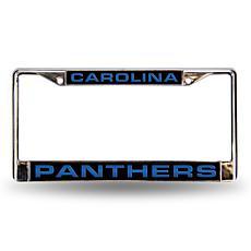 Black Chrome License Plate Frame - Carolina Panthers