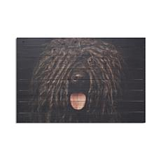 Black Dog 24x36 Print on Wood