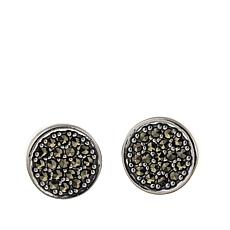 Black Marcasite Pavé Sterling Silver Button Earrings