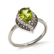 Black Marcasite, Peridot & White Topaz Pear-Shaped Ring