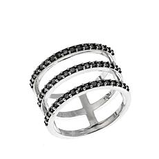 Black Marcasite Sterling Silver 3-Row Negative-Space Ring