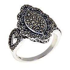 Black Marcasite Sterling Silver Marquise Cutout Ring