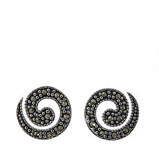 Black Marcasite Sterling Silver Swirl-Design Stud Earrings