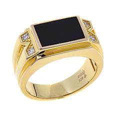Black Onyx and CZ Gold-Plated Sterling Silver Ring
