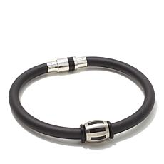 "Black Rubber and Stainless Steel Bead Magnetic 8"" Brace"