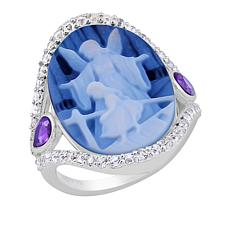 BlesT Sterling Silver Agate, Amethyst and White Topaz Angel Cameo Ring